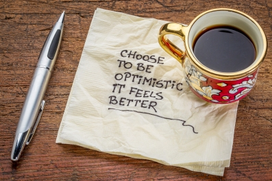 choose to be optimistic, it feels better - motivational handwrit